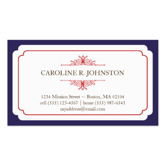 Simple grace solid navy frame personal calling pack of standard business cards