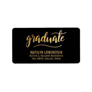 Simple Graduate Gold Handwritten Script Black Label