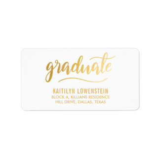 Simple Graduate Gold Handwritten Script Label