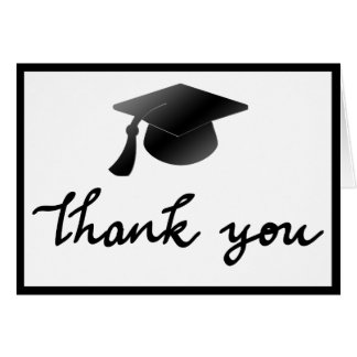 Simple Graduation Hat Thank You Handwritten Greeting Card