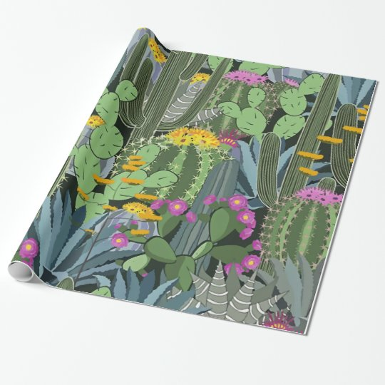 Simple Graphic Cactus Garden Wrapping Paper