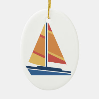 Simple Graphic Sailboat Christmas Ornament