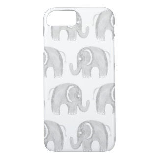 Simple gray white watercolor pastel elephant cute iPhone 8/7 case