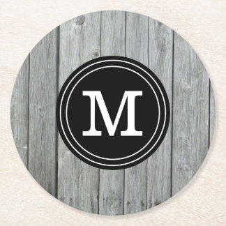 Simple Gray Wood Monogrammed Round Paper Coaster