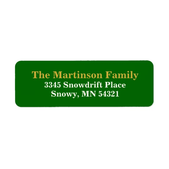 Simple Green and Gold Holiday Return Address Label