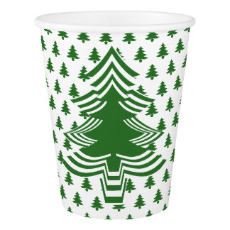 Simple Green and White Christmas Tree Font Pattern Paper Cup
