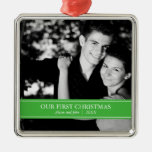 Simple Green and White Custom Photo Christmas Silver-Colored Square Decoration