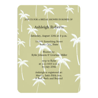 Simple Green and White Palm Trees Bridal Shower 13 Cm X 18 Cm Invitation Card
