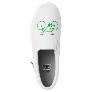 Simple Green Bicycle Silhouette Slip-On Shoes