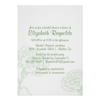 Simple Green Bridal Shower Invitations Card