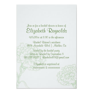 "Simple Green Bridal Shower Invitations 5"" X 7"" Invitation Card"