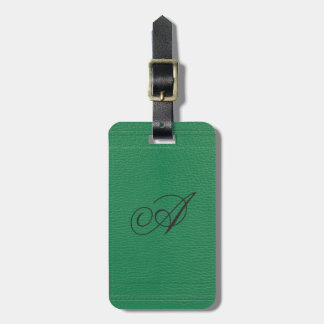 Simple Green Fox Leather Look Monogram Luggage Tag