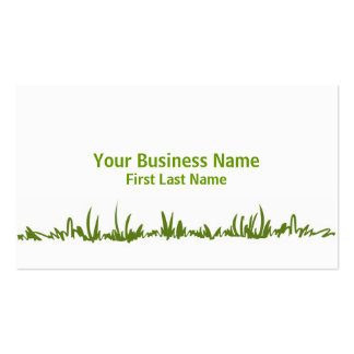 Simple green grass lawn care business cards