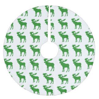 Simple green moose pattern tree skirt