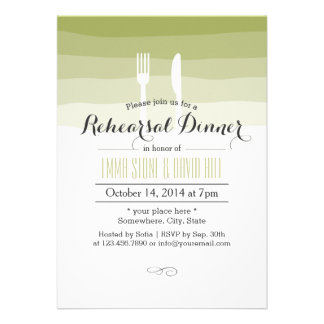 Simple Green Shades Rehearsal Dinner Invites