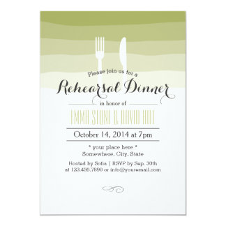 Simple Green Shades Rehearsal Dinner 5x7 Paper Invitation Card