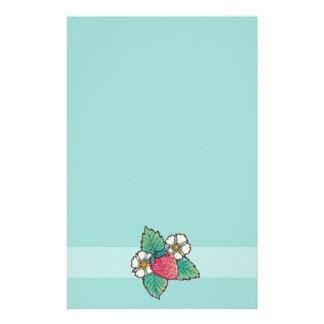 Simple green strawberry Plant Custom Stationery