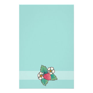 Simple green strawberry Plant Stationery
