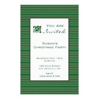 Simple Green Stripe Christmas 14 Cm X 21.5 Cm Flyer