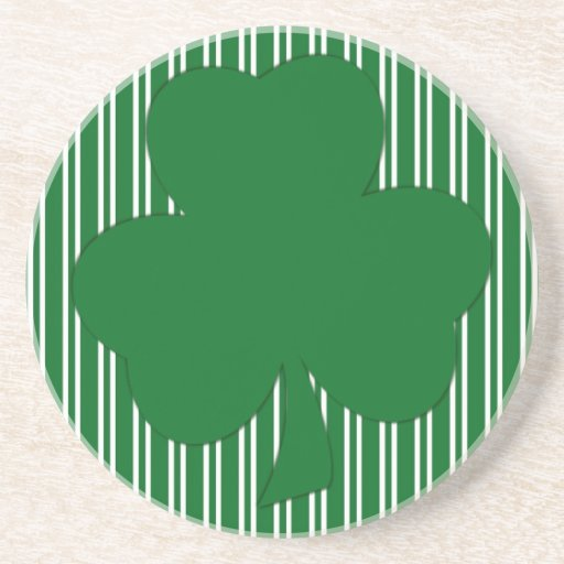 Simple Green Stripe Shamrock Sandstone Coaster