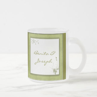 Simple Green Wedding Design Frosted Glass Mug