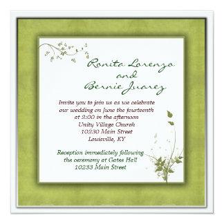 Simple Green Wedding Floral 13 Cm X 13 Cm Square Invitation Card