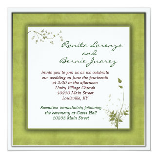 Simple Green Wedding Floral Card
