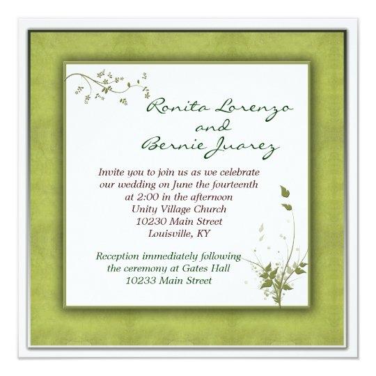Simple Green Wedding Floral Card