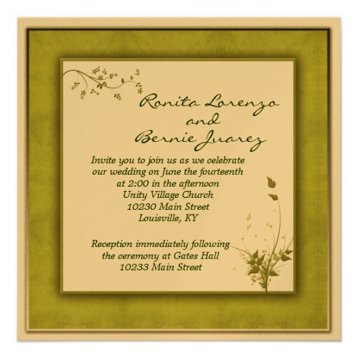 Simple Green Wedding Floral Personalized Invitation