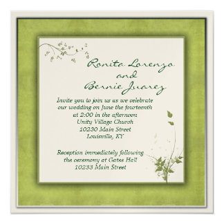 Simple Green Wedding Floral 5.25x5.25 Square Paper Invitation Card