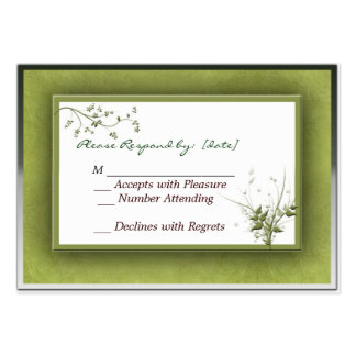 Simple Green Wedding Floral RSVP Pack Of Chubby Business Cards