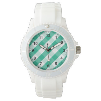 Simple Green white St Patrick gingham pattern Watch