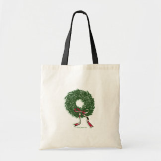 Simple Green Wreath Budget Tote Bag