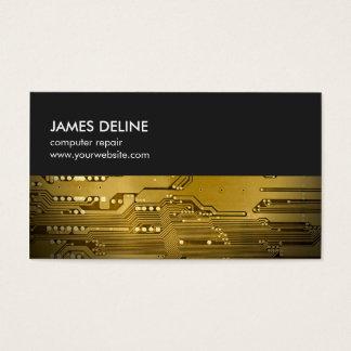 Simple Grey Gold Circuit Board Computer Repair