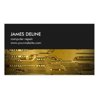 Simple Grey Gold Circuit Board Computer Repair Pack Of Standard Business Cards