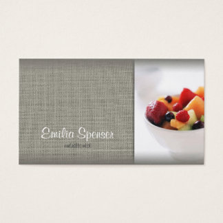 Simple Grey Linen Nutritionist Business Card