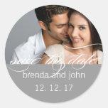 Simple Grey Photo Save the Date Wedding Sticker