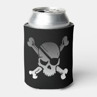 Simple Grey Pirate Skull and Crossbones Can Cooler