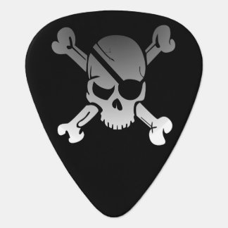 Simple Grey Pirate Skull and Crossbones Guitar Pick