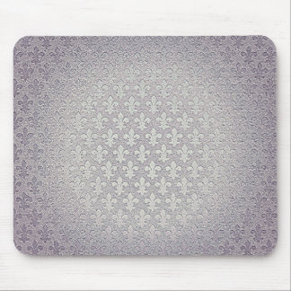 Simple grey silver grunge fleur de lis mouse mat