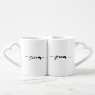 Simple Groom and Groom Script Matching Coffee Mugs