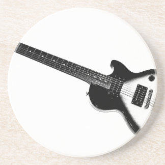 Simple Guitar Black on White or Light Coaster