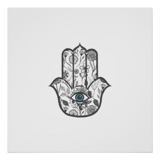 Simple Hand Drawn Floral Hamsa Hand Poster