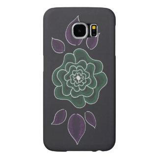 Simple hand drawn purple green flower samsung galaxy s6 cases