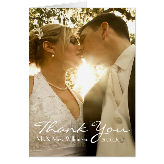 Simple Handwriting Wedding Photo Thank You Card
