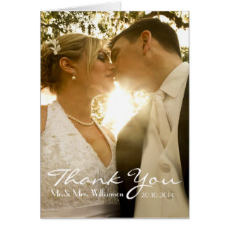 Simple Handwriting Wedding Photo Thank You Note Card