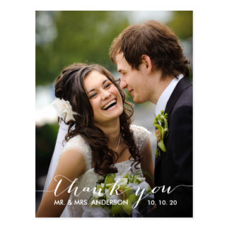 Simple Handwriting Wedding Thank You Postcard