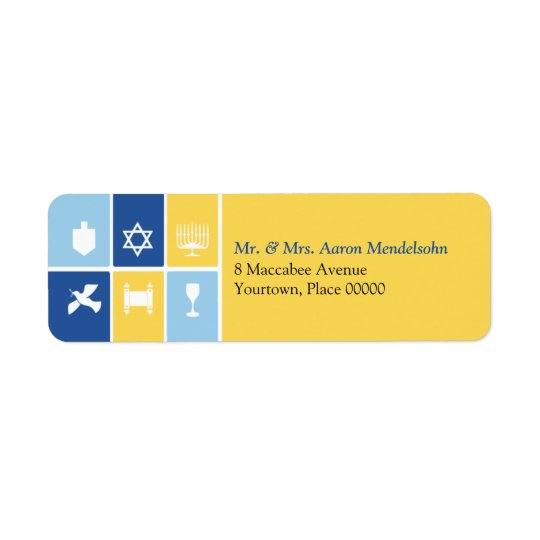 Simple Hanukkah Icons Return Address Label