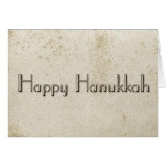 Simple Happy Hanukkah Vintage Stained Paper Card