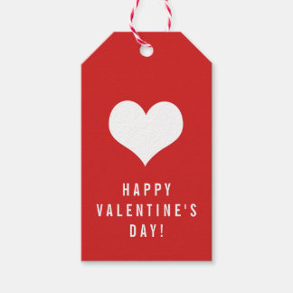 Simple Happy Valentine's Day White Heart on Red Gift Tags